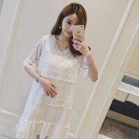 孕妇夏装连衣裙中长款2018夏季新款时尚蕾丝上衣韩版怀孕短袖裙子