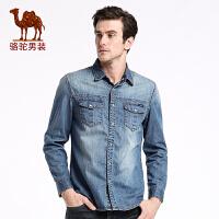骆驼男装 新款时尚修身青年纯棉休闲水洗长袖牛仔衬衣潮男衬衫