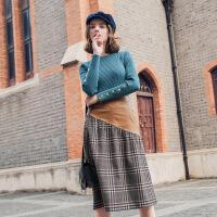 MG小象2019秋季新款女装格子半身裙高腰a字裙修身显瘦时尚包臀裙