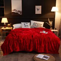 君别加厚结婚庆大红色双面珊瑚绒法兰绒毛毯盖毯1.8m2米2.3空调毯 云与鹿 包装袋 230X250cm 重3.6斤左