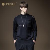 PINLI品立2020秋季新款男装字母绣花针织衫毛衣男上衣B203210034