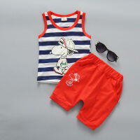 宝宝背心纯棉夏装 1-2岁男女童透气薄款无袖短裤两件套小童装 桔