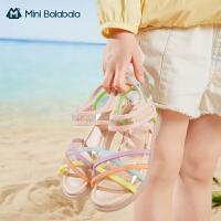 迷你巴拉巴拉女童凉鞋2021夏款防滑透气透明多彩镂空易穿脱凉鞋