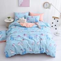 ins北欧风全棉四件套床单人双人时尚猫咪小清新夏季纯棉床上用品