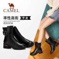 Camel/骆驼2018冬季新款 摩登时尚大气质感粗跟中筒女靴