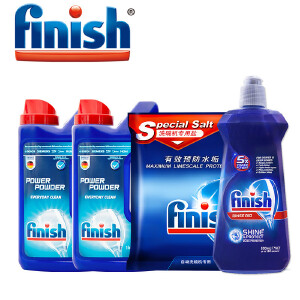 finish洗碗机专用洗涤组合(1kg洗碗粉*2+2kg盐+500ml漂洗剂)