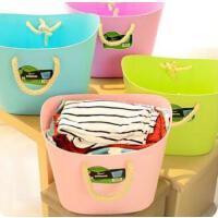 寝室神器大号软塑料棉绳脏衣篮时尚收纳篮衣服储物筐脏衣桶 绿色