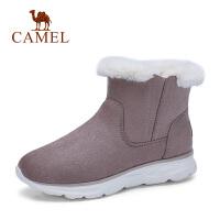 骆驼秋冬新款加绒短筒绒面短靴保暖轻感运动雪地靴女