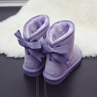 真皮韩版蝴蝶结冬季沙色雪地靴女2018新款中筒学生可爱面包鞋棉靴