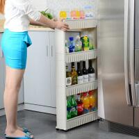 缝隙收纳整理架 夹缝架 带轮可移动置物车 厨房浴室架四层厨房夹缝储物整理柜洗衣机间隙置物车