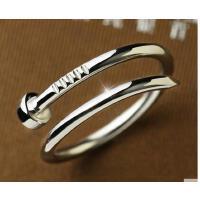 韩版简约甜美流行银戒指女螺丝钉开口指环星你饰品