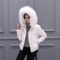 20180823256302018 新款新款断码羽绒服女短款加厚大毛领韩版冬装白色短外套性感潮流