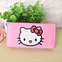 Hello kitty猫卡通零钱包短款女生韩版可爱动漫拉链学生儿童皮夹 KT头长款 (拉链款)
