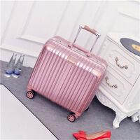 小清新登机箱18寸密码箱男女通用旅行箱轻便行李箱16寸商务拉杆箱 玫瑰金-高配包角【铝框款 】