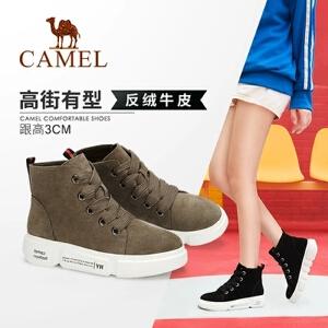 骆驼女鞋2018冬季新款女靴学生简约复古厚底耐磨防滑运动风短靴女