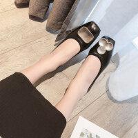 休闲女鞋金属扣芭蕾舞鞋方头复古奶奶鞋新款平底单鞋女一脚蹬