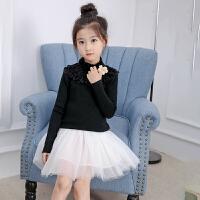 女童毛衣套头中大童秋款黑白色儿童加绒加厚公主高领打底针织衫