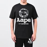 Aape猿人头男士字母印花短袖T恤AAPTEM2621XX6黑