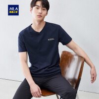 HLA/海澜之家V领短袖T恤2019夏季新品平纹个性字母舒适短t男