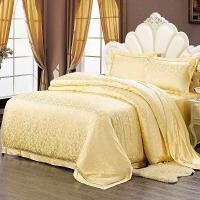 真丝四件套100桑蚕丝婚庆欧式重磅丝绸提花家纺床上用品套件