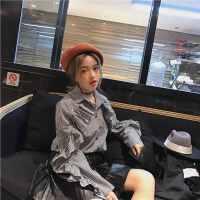 2018冬季女装新款学生单排扣长袖宽松显瘦POLO领木耳边格子衬衣女