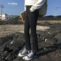 韩版高腰百搭撕边小脚裤显瘦弹力紧身九分裤烟灰色牛仔裤女 烟灰色