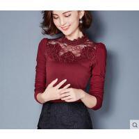 秋冬装新款大码镶钻上衣小衫加绒加厚蕾丝打底衫女长袖修身