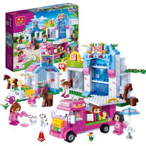 【当当自营】邦宝小颗粒媚力都市益智拼插积木玩具女孩过家家宠物乐园6121