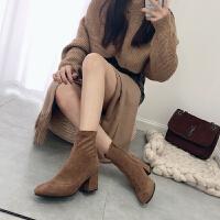 2018新款靴子女粗跟马丁靴短靴英伦风真皮平底及踝裸靴百搭瘦瘦靴