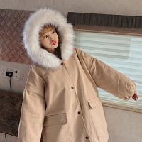 加厚工装外套女2018中长款冬季新款韩版bf宽松大毛领棉衣学生 均码