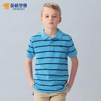 英格里奥童装男童秋装新款短袖T恤中大童儿童T恤条纹polo衫LLB9419