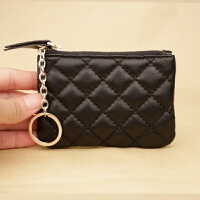韩版拉链迷你软皮小零钱包男女士羊皮薄款零钱袋硬币包卡包新品钥匙包 黑色 小号