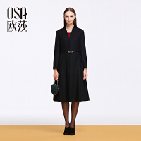 OSA欧莎2015冬季新款女装 纯色毛呢外套女士大衣长款SD557012