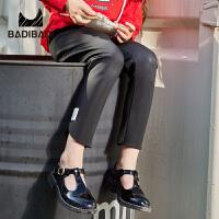 【双十一3件2折:36】巴拉巴拉旗下 巴帝巴帝潮流童装2018秋季新款女童黑色简约打底裤
