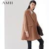 【限时秒杀】Amii翻领大码双排扣A字型中长款毛呢大衣