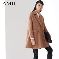 【到手价:100】AMII[极简主义]冬新品西装领双排扣A字型中长款毛呢大衣11490421