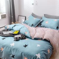 棉四件套纯棉简约被套床单1.5m单人女学生宿舍床上三件套