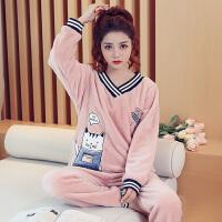 珊瑚绒睡衣女冬V领猫甜美可爱韩版加厚保暖法兰绒秋天家居服套装 S#9121--V领猫
