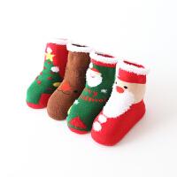宝宝袜子秋加厚0-2岁礼盒大红色过年儿童3-5-10岁中大童学生