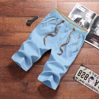 男士短裤夏季休闲黑色裤子七分裤7分裤宽松潮流夏天五分裤沙滩裤