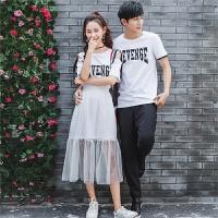 情侣装夏装2018新款韩版女纱裙子百搭时尚气质连衣裙短袖T恤衫潮