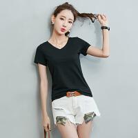 【限时秒杀】Coolmuch女短T2019夏季新款简约纯色百搭休闲V领短袖T恤JW88860