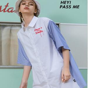 PASS2018夏装新款短袖连衣裙女中长款宽松条纹拼接衬衫连衣裙潮