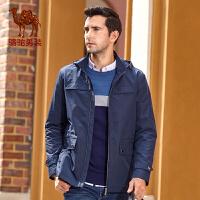 骆驼男装风衣 秋季新款时尚商务休闲纯色修身短款风衣男外套