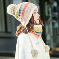 帽子 女士拼色围脖针织套帽2020年冬季新款韩版时尚潮流女式清新甜美女装保暖毛线帽