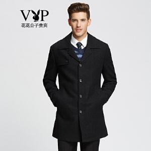 花花公子贵宾保暖羊毛大衣