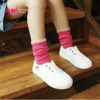 [5双盒装]内慧 秋冬女儿童袜子纯色卡丝中筒袜宝宝棉袜堆堆袜 WZ5086