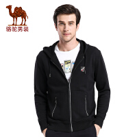 骆驼男装 秋季新款连帽青年运动休闲纯棉简约长袖卫衣男外套