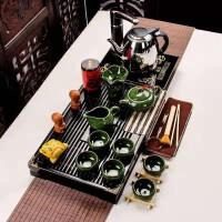 功夫茶具套装家用整套简约实木茶盘茶壶孔雀绿冰裂小兰香二合一套