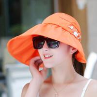户外女士防晒帽 沙滩太阳帽凉帽 韩版可折叠大檐帽遮阳帽子女 便携折叠帽子